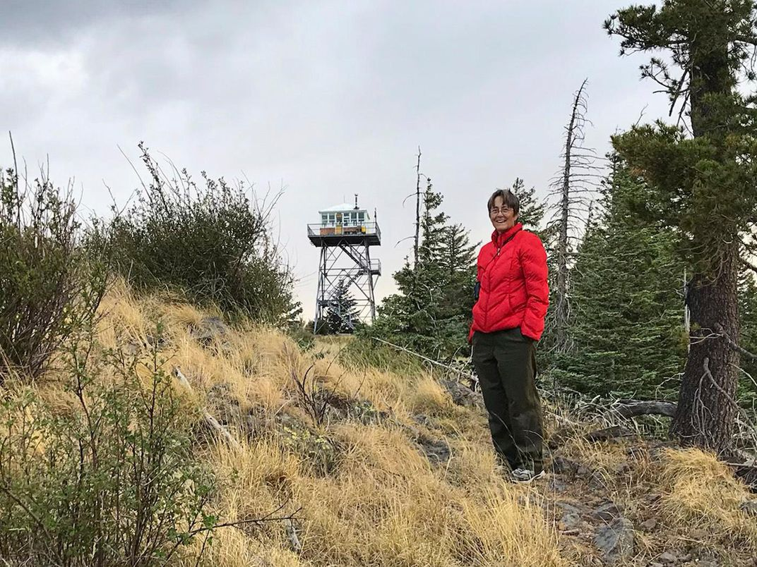 Sara Irving and Mogollon Baldy Lookout Tower_Photo by Jane Halonen.jpg