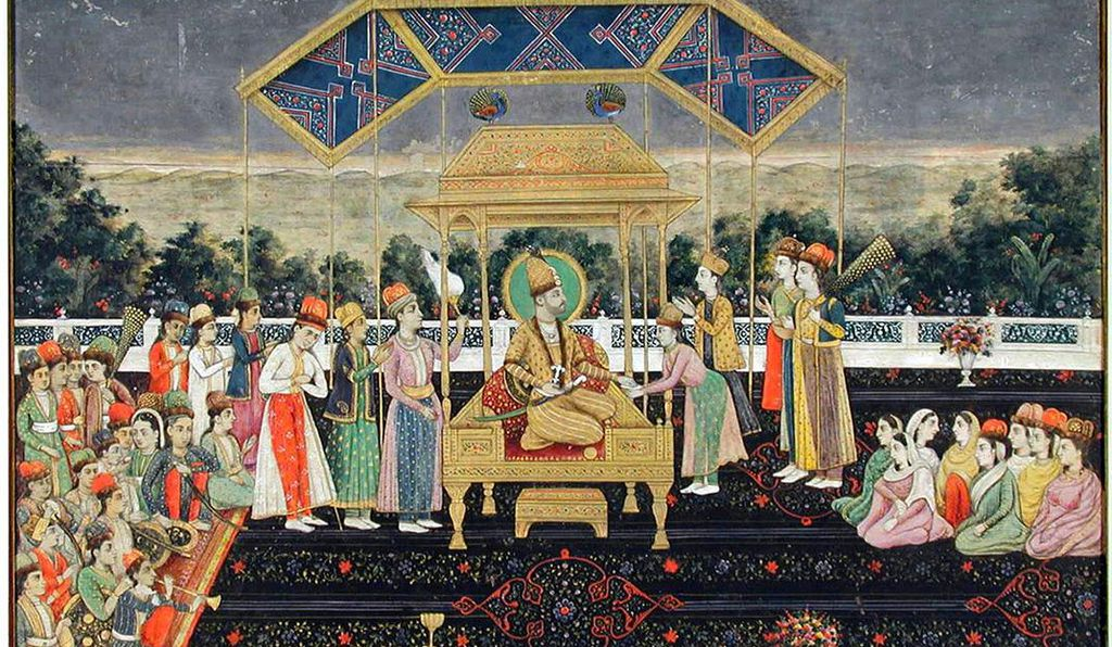 Nader Shah on the Peacock Throne, whose jewels included the Koh-i-Noor diamond.
