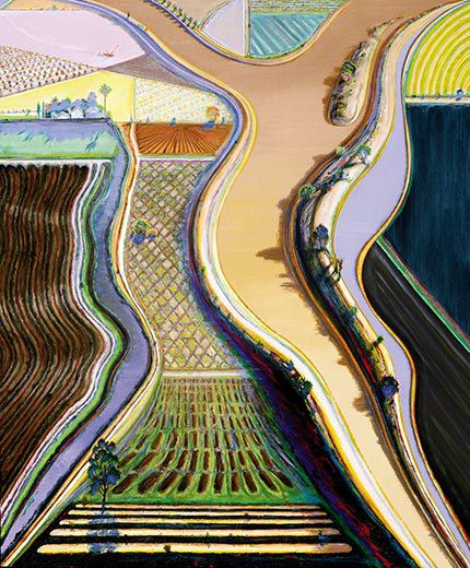 Among his recent works are kaleidoscopic landscapes such as Brown River,  2002. (© Wayne Thiebaud / Licensed by VAGA, New York, NY) - Wayne Thiebaud Is Not A Pop Artist Arts & Culture Smithsonian