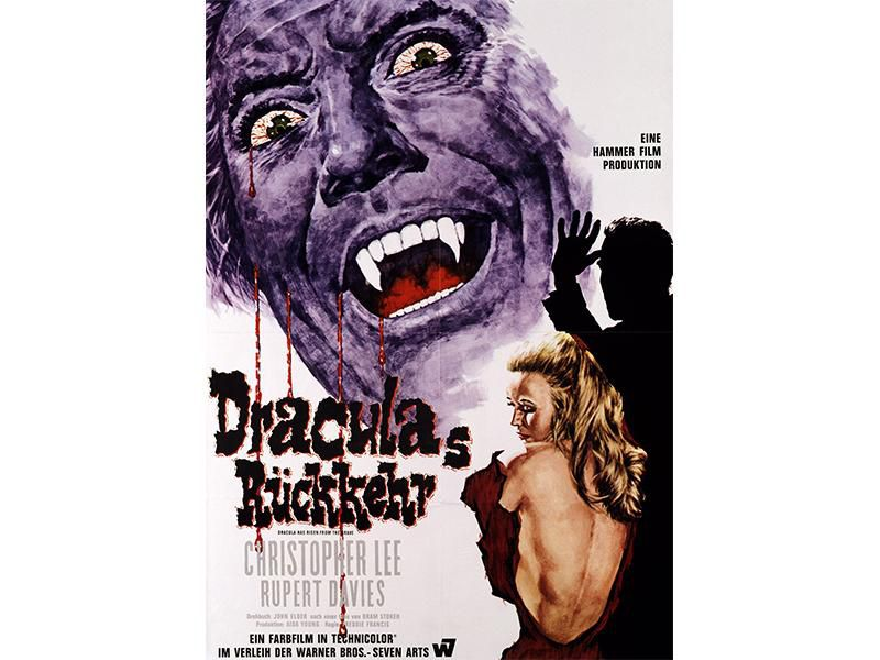 A poster for the 1968 German release of Dracula Has Risen From the Grave