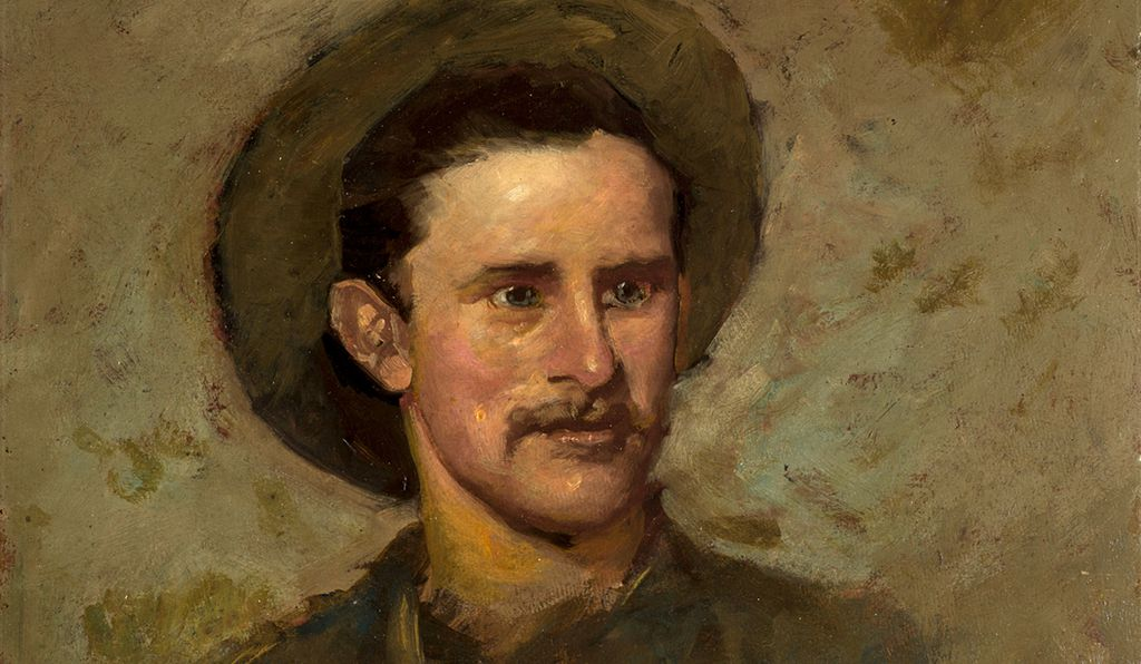 The artist Alexander Phimister Proctor (above: self-portrait, detail) became famous for the extraordinary accuracy of his  sculptures of animals that he knew intimately from his boyhood days.