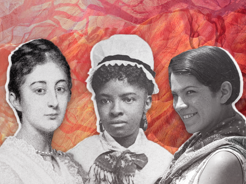 Illustration of pioneering women scientists Mary Mahoney, Zelia Nutall, and Bertha Parker