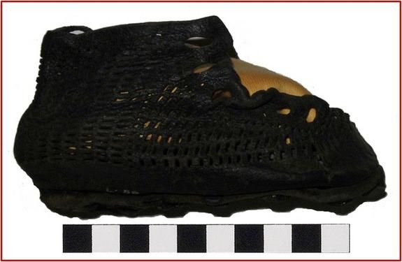 A complex leather shoe, possibly worn by the infant child of the Roman base's commander.
