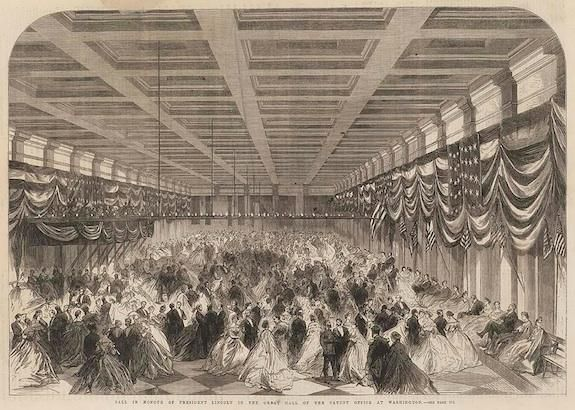 An 1865 engraving of Lincoln's second inaugural ball held at the Patent Office.