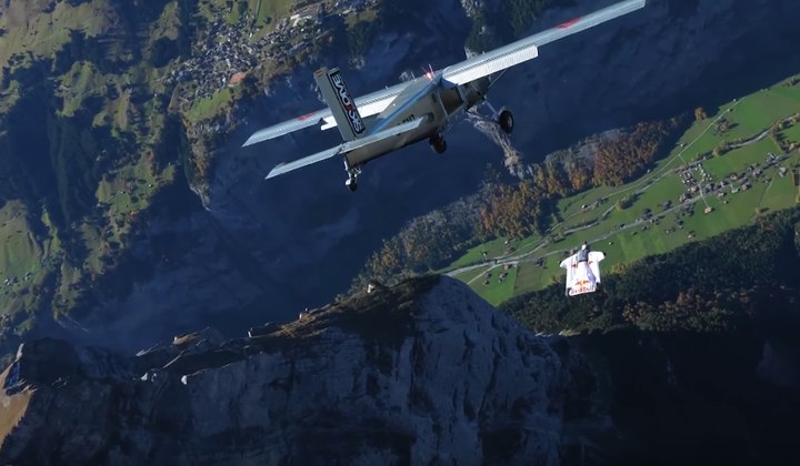 French Daredevils Leap From Mountain to Airplane