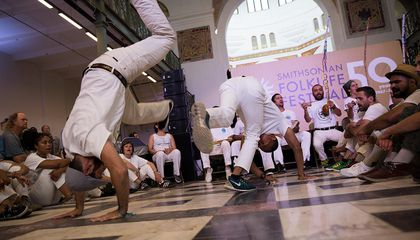 Capoeira roda in the Arts and Industries Building at the 2017 Folklife Festival.