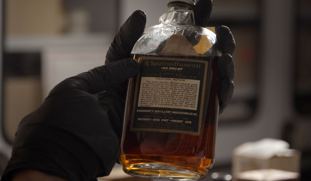 During prohibition, doctors prescribed whiskey; this bottle resides in the Smithsonian collections.