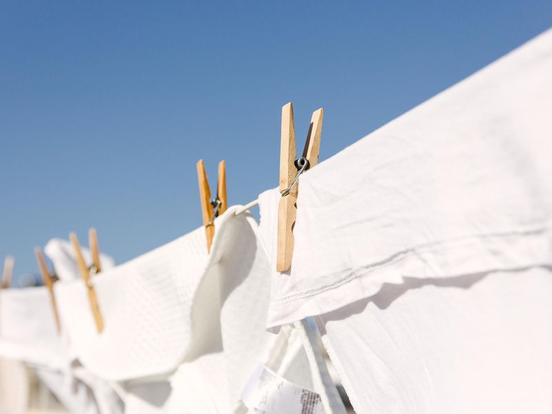 White clothes hung out to dry