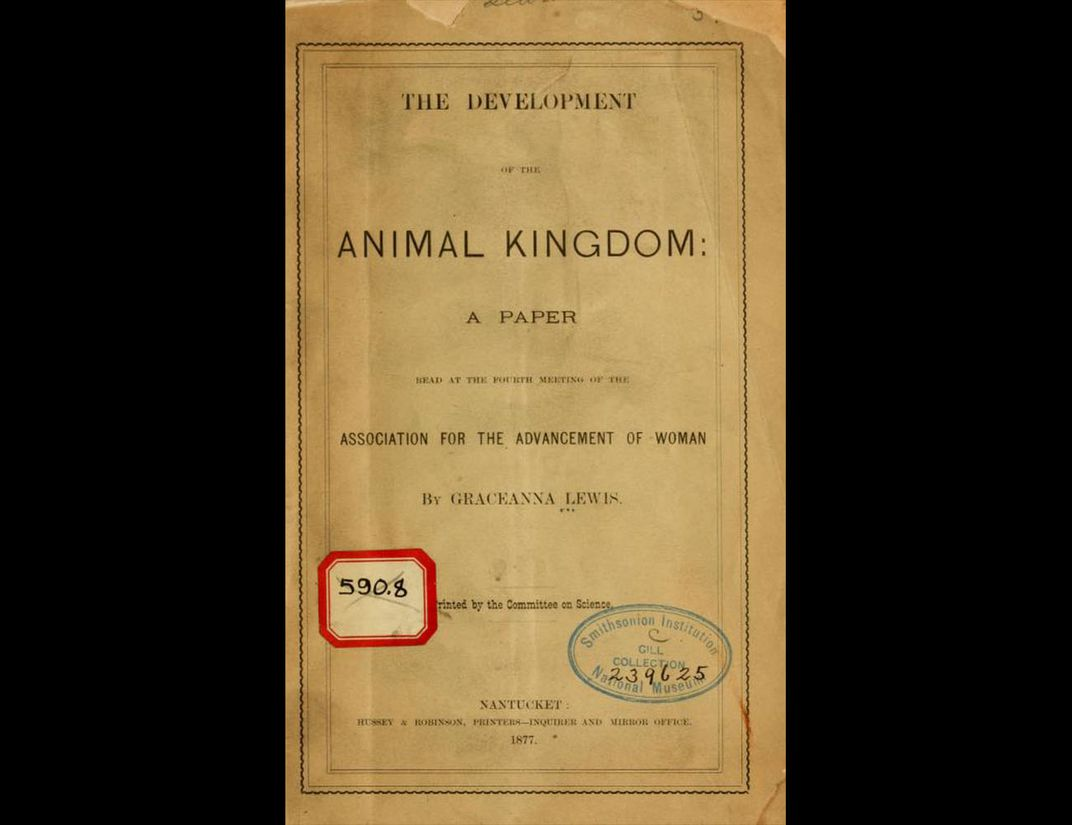 """Plain paper cover of """"The Development of the Animal Kingdom"""" by Graceanna Lewis."""