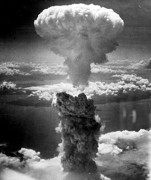 "The mushroom cloud produced by the ""Fat Man"" bomb from the bombing of Nagasaki, Japan."