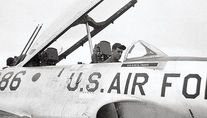 Airman George Johnson (in a T-33 in late 1955) spent hundreds of hours maintaining Sabrejets and much less time flying one.