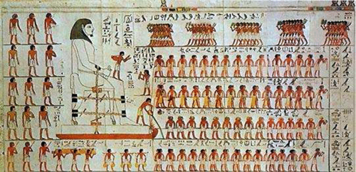 A wall painting from the tomb of Djehutihotep.