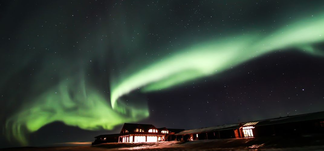The Northern Lights as viewed from Hotel Ranga.  Credit: Darryl Wilson