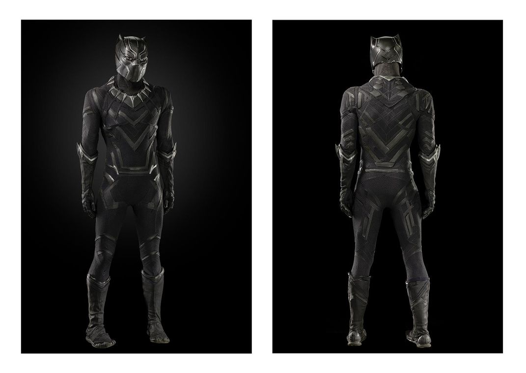 Front and back of Black Panther uniform