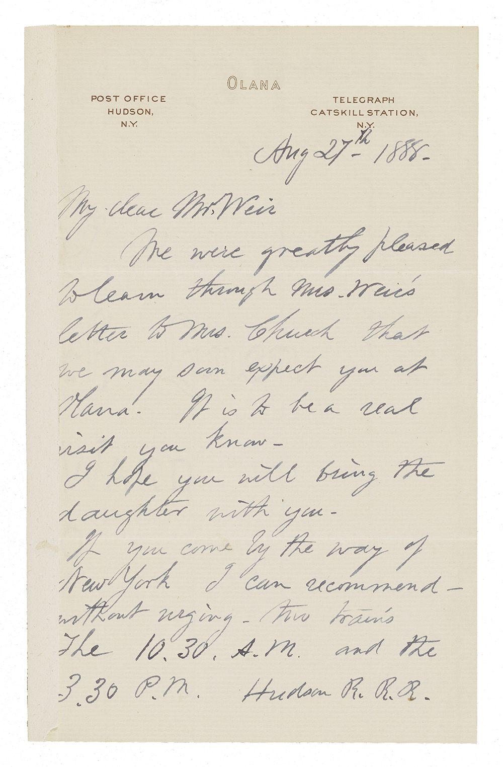 Letter written in dark blue ink and cursive hadwriting with letterhead from Olana.