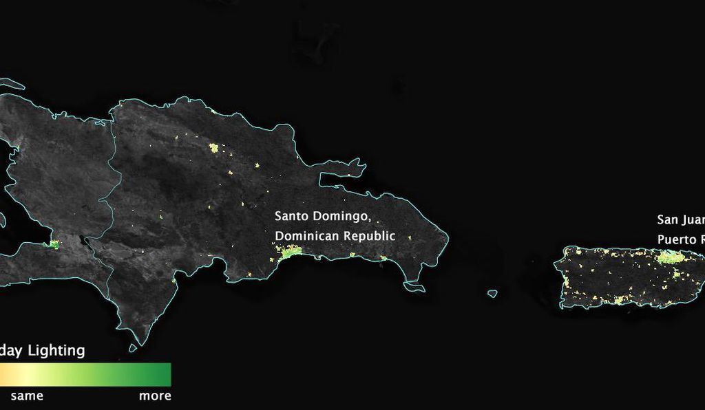 The team looked at light patterns for the 30 most populous towns in Puerto Rico.