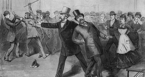 Artist rendition of Charles Guiteau's attack on President Garfield