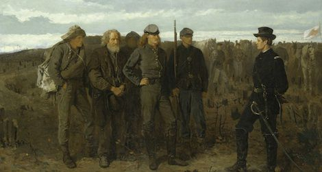 Confederate soldiers stand defiant