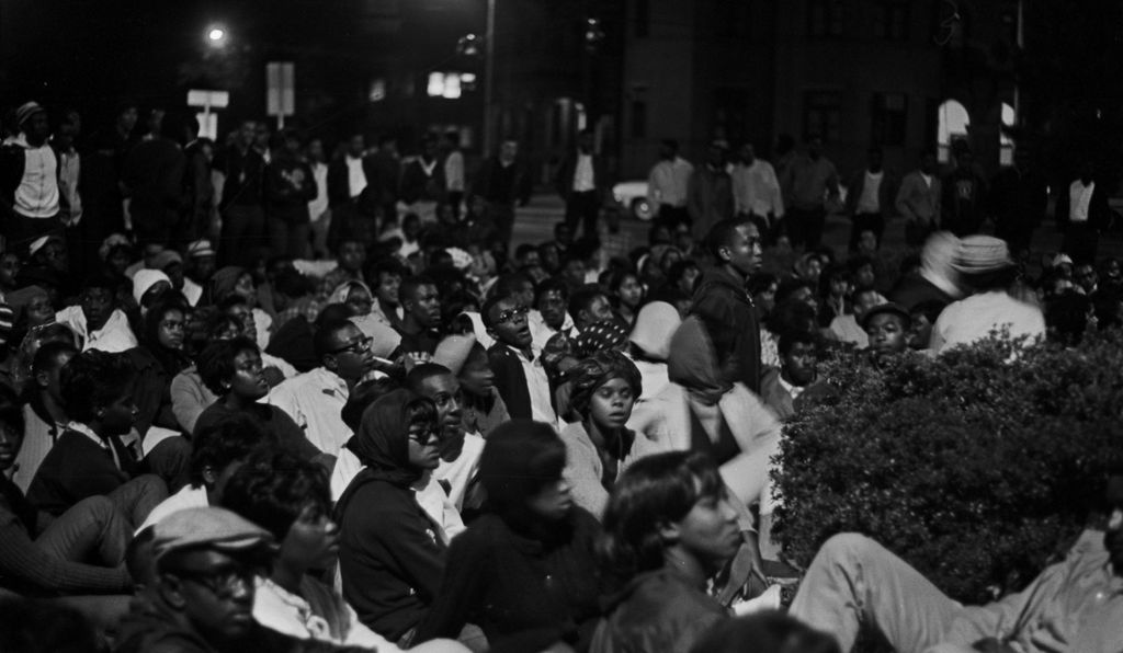 Students from Tuskegee gathered in protest of the murder of Sammy Younge, Jr., and listened to lectures from school professors and other community leaders.