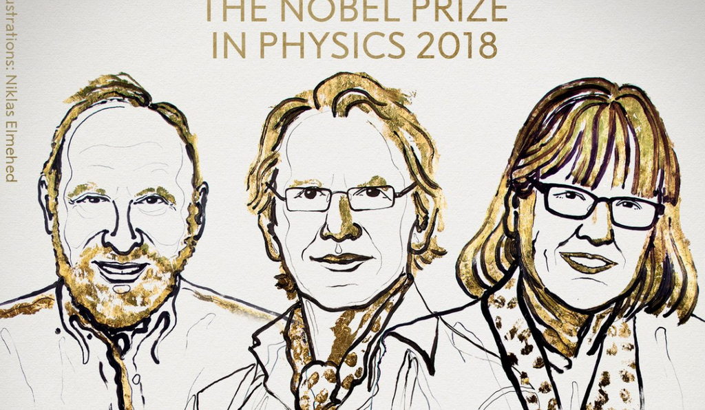 From left to right: Arthur Ashkin, Gerard Mourou, Donna Strickland.   These three physicists were awarded for their pioneering contributions in creating