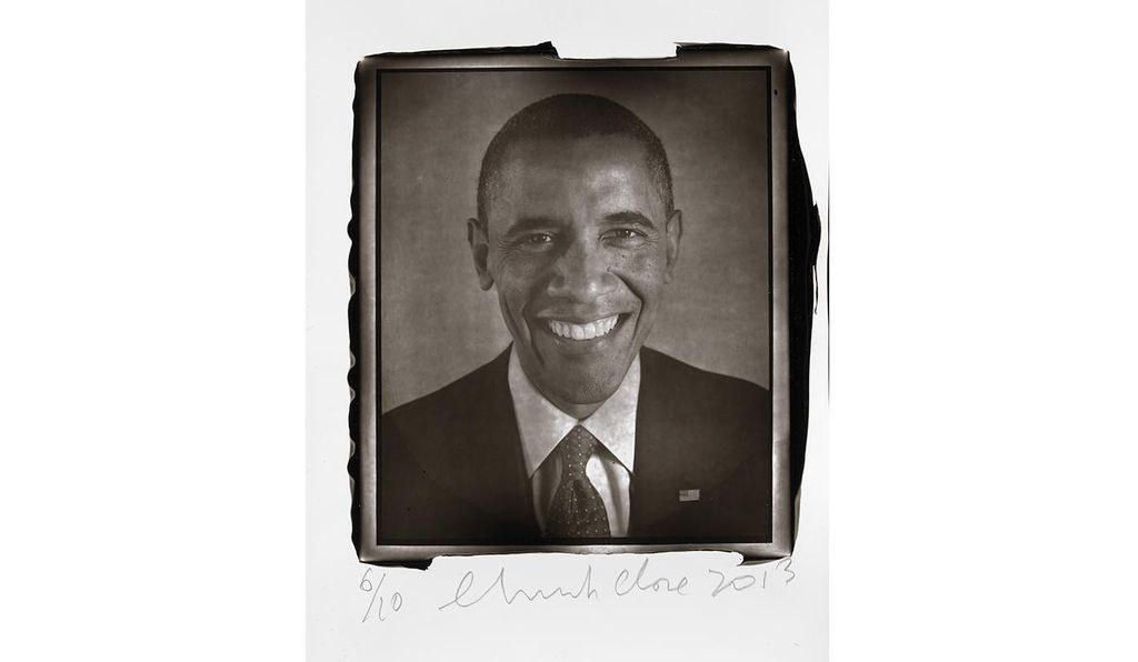<em>Barack Obama</em> by Chuck Close, (one of a diptych), 2013