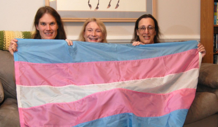 Transgender flag designed by Monica Helms (right), and friends. The flag's stripes represent the traditional pink and blue associated with girls and boys and white for intersex, transitioning, or of undefined gender. Helms served in the United States Navy and became an activist for transgender rights in the late 1990s in Arizona where she grew up. She designed the flag in 1999. (NMAH)