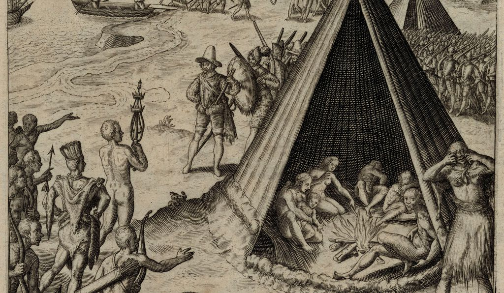 Drake's Landing in New Albion, 1579, engraving published by Theodor De Bry, 1590