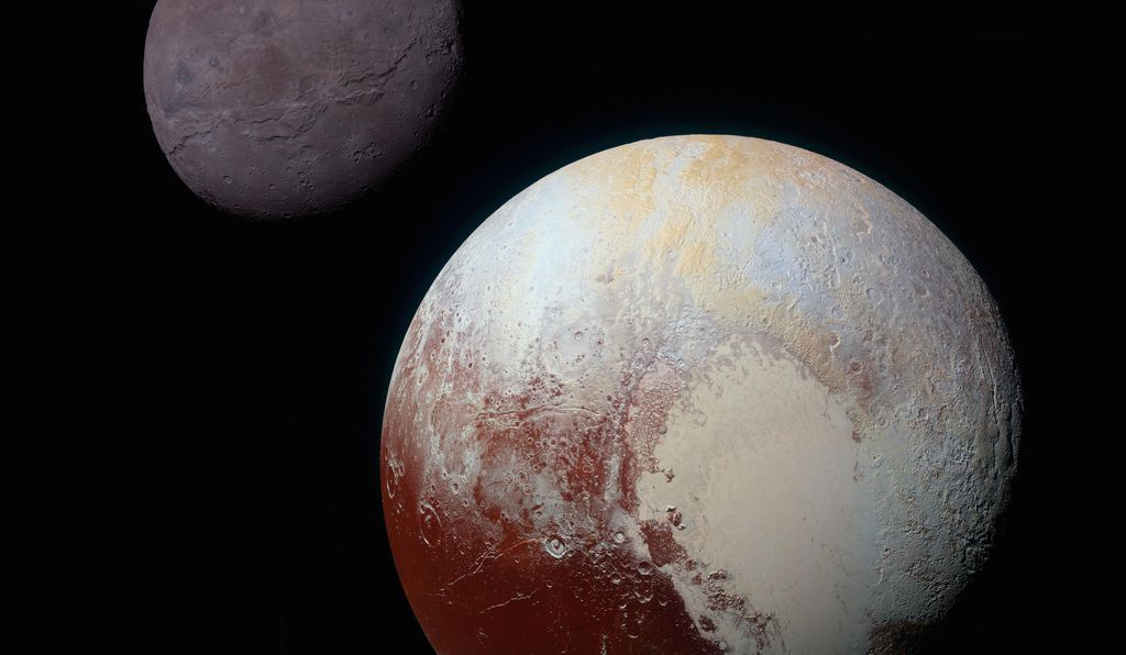 A composite image of Pluto and its moon Charon. Sputnik Planitia is the left half of the heart-shaped feature visible on Pluto, and it lies directly opposite of Charon.