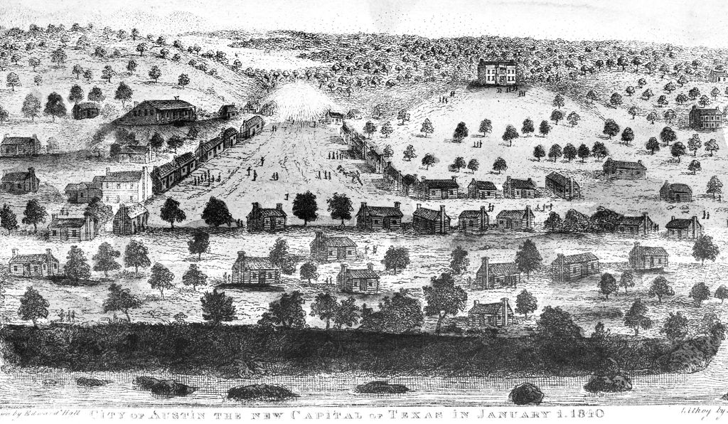 A view of the city of Austin, capital of the Republic of Texas. Lithograph, 1840.