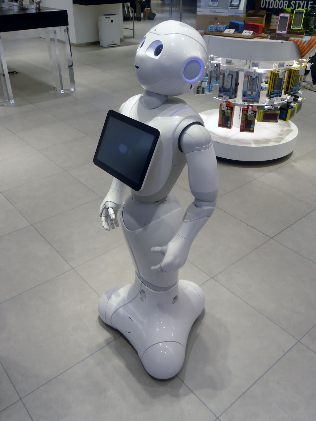 Pepper, a social companion robot, in a retail environment.