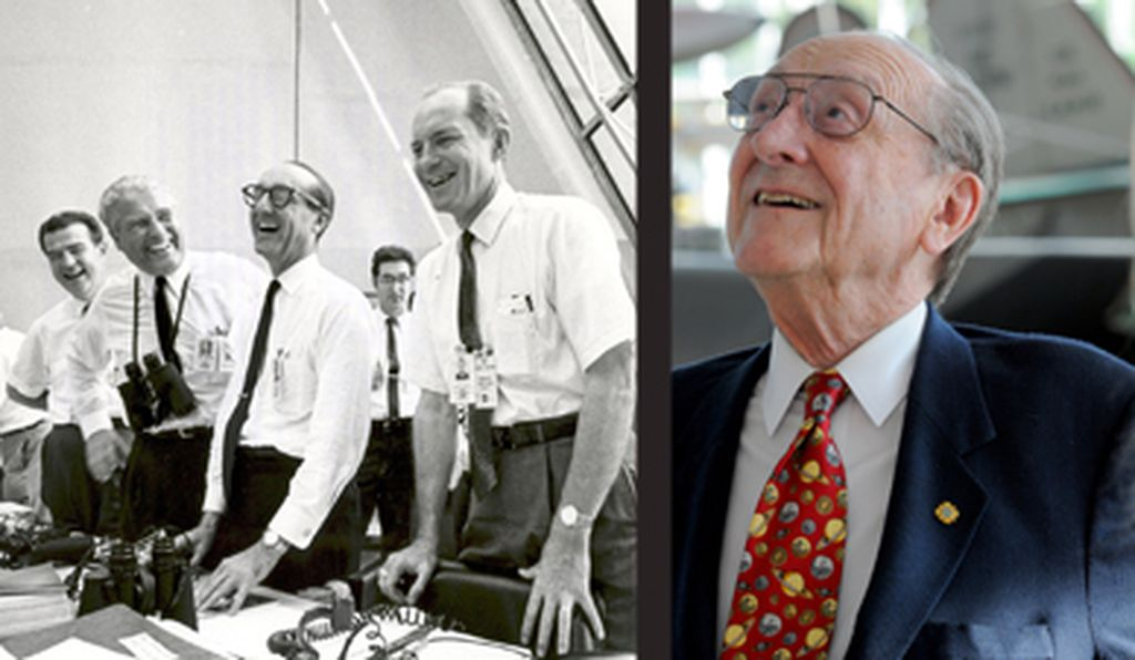 George Mueller then (wearing glasses at left); and now.