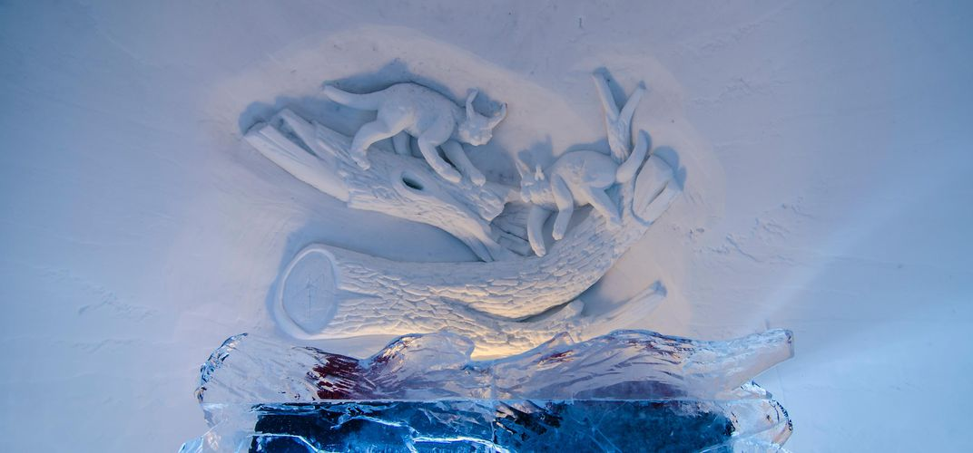 Ice sculpture at the Snow Hotel. Credit: Kirkenes Snow Hotel