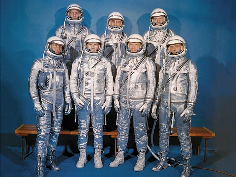 The Mercury 7, in not-quite-full silver regalia