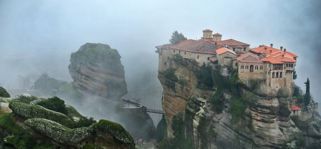 Monastery in the mist at Meteora