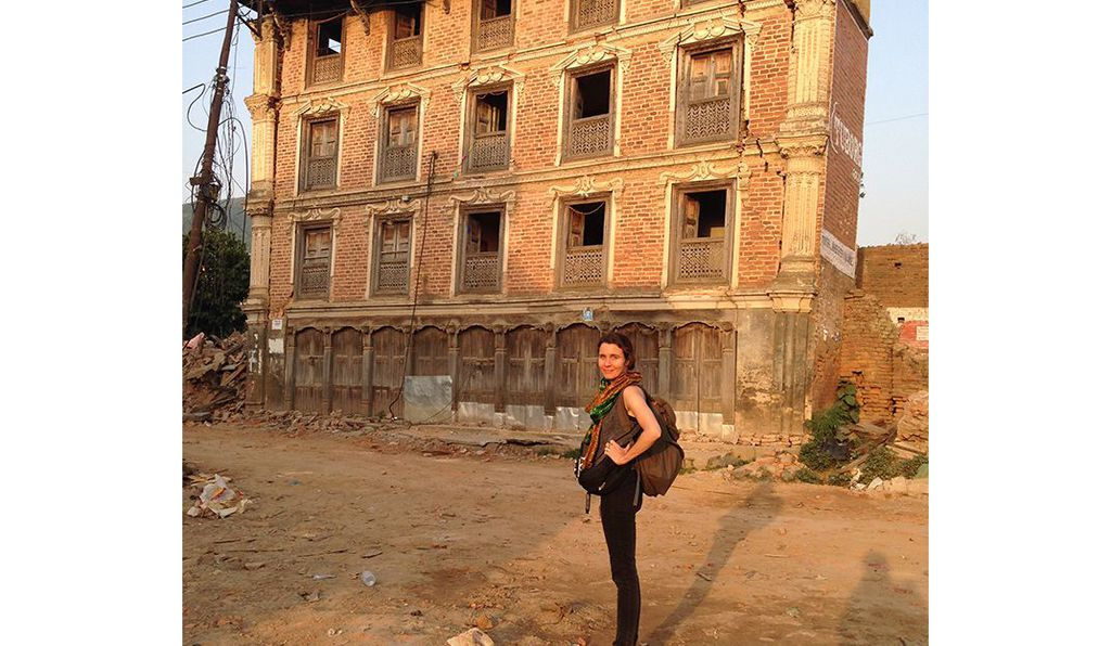 Sara Hylton in the village of Shankarpur, Nepal on May 25, 2015