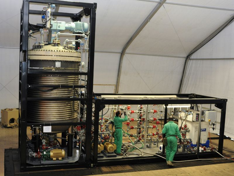 The Field Deployable Hydrolysis System is built to neutralize chemical weapons on site.