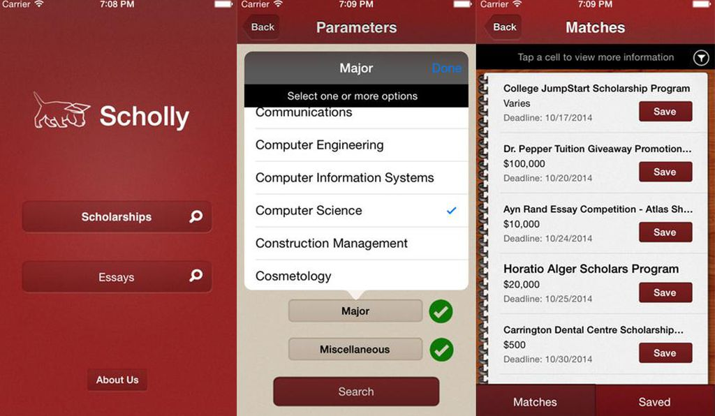After entering parameters, students get tailored scholarship matches.