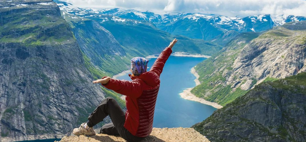 Enjoying the view of a fjord