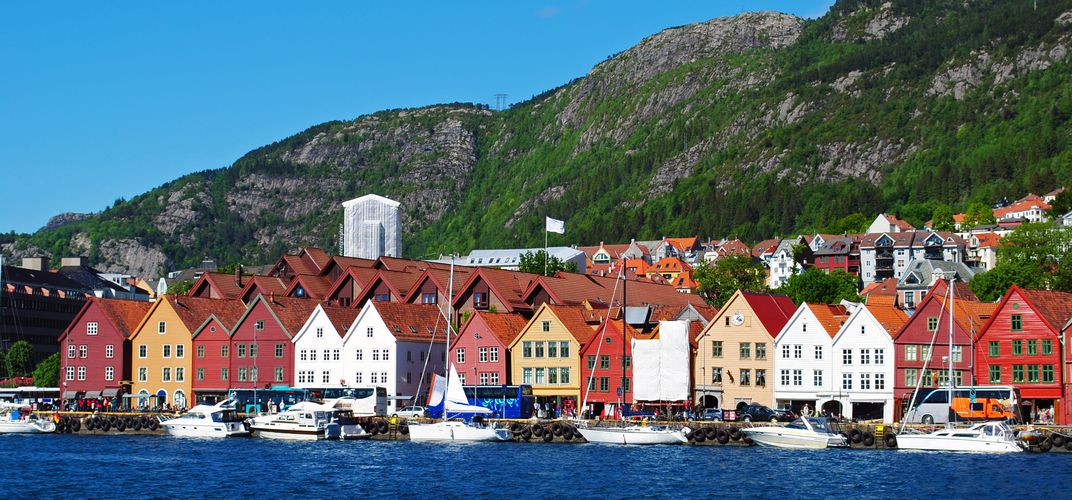 The World Heritage site of Bryggen, in the town of Bergen