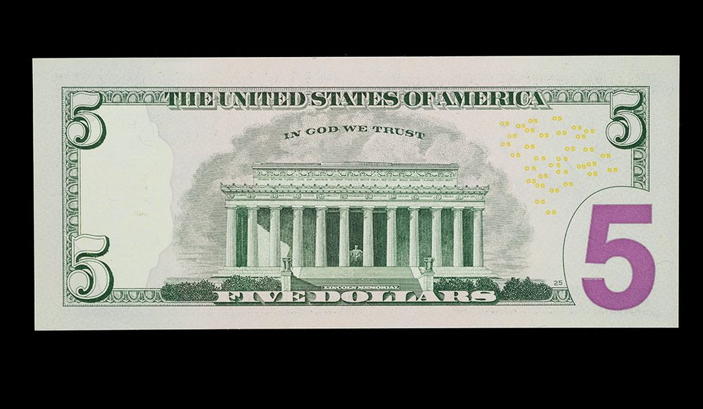 Five-dollar note, United States of America, 2006, depicting the Lincoln Memorial