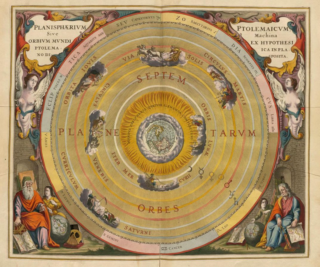Ptolemy's Earth-centered universe with the moon, Mercury, Venus, the sun, Mars, Jupiter and Saturn orbiting our planet.