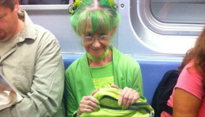 Only in New York: The Lady in Lime Green