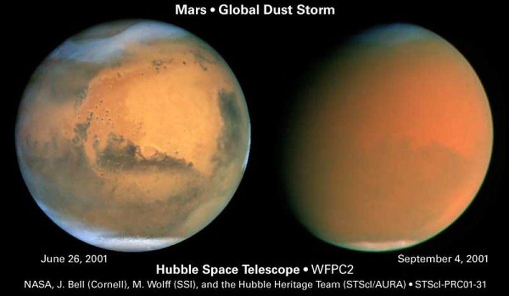 Hubble captured these images of Mars before (left) and during (right) a planet-wide dust storm on Mars. These storms wipe out the planet's features and last for weeks or months at a time.