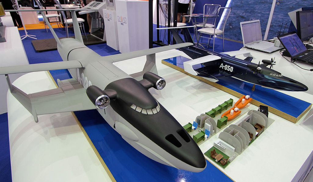 Scale models of proposed ground-effect vehicles shown at last year's Moscow Air and Space Show. Note the interior configured for search and rescue.