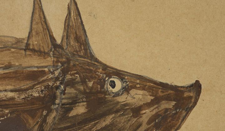 Detail of Bill Traylor's Untitled (Brown Pig), April 1940, pencil and opaque watercolor on paperboard, Smithsonian American Art Museum, The Margaret Z. Robson Collection, Gift of John E. and Douglas O. Robson, 2016.38.70