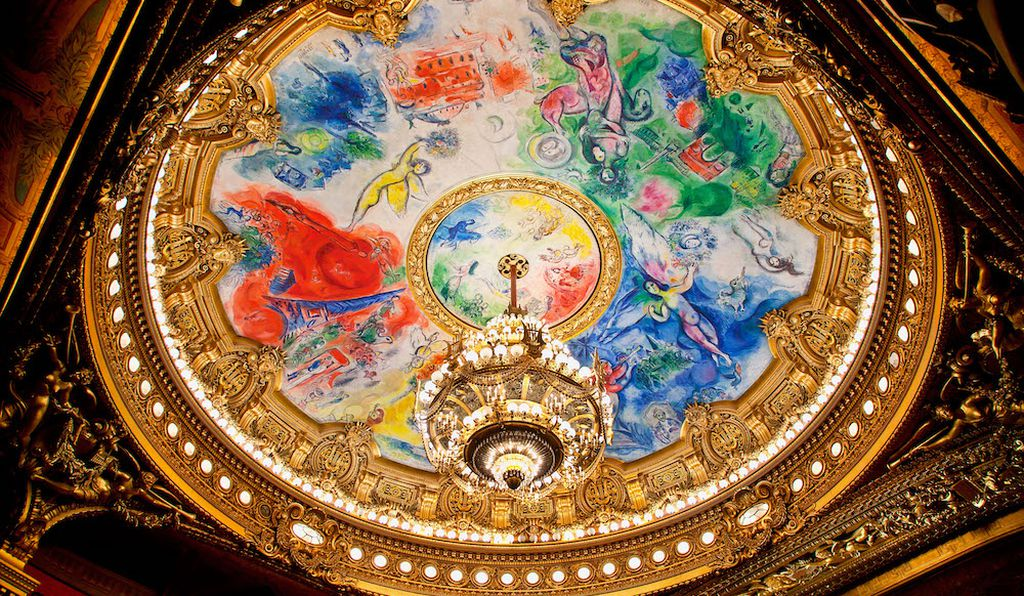 Palais Garnier, France. Marc Chagall's rich colors, made up of five symbolic