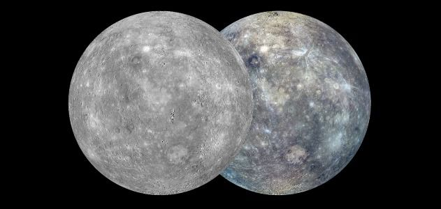 A black and white (left) and color (right) map of Mercury's surface.