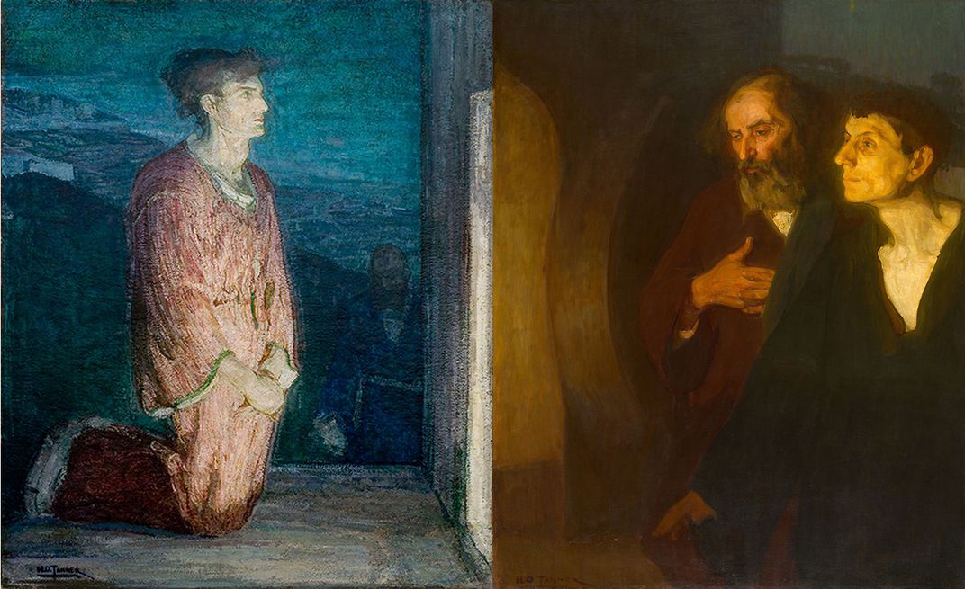 Two versions of Two Disciples at the Tomb by Henry Ossawa Tanner. Left courtesy of Michael Rosenfeld Gallery. Left: The Art Institute of Chicago CC0 Public Domain Designation