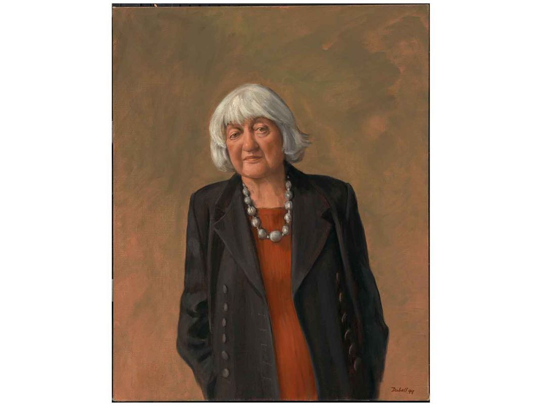 Canvas painting of Betty Friedan, arms at sides