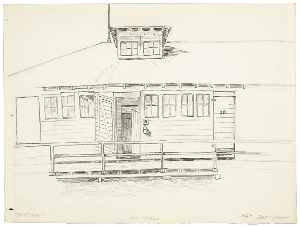 Drawing by Kay Sekimachi of the horse stall her family lived in at the Tanforan Relocation Center
